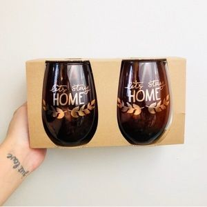 """Let's Stay Home"" Set of 2 Amber Wine Glasses"